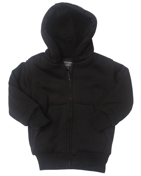 Arcade Styles Boys Black Sherpa Fleece Hoodie (4-7)