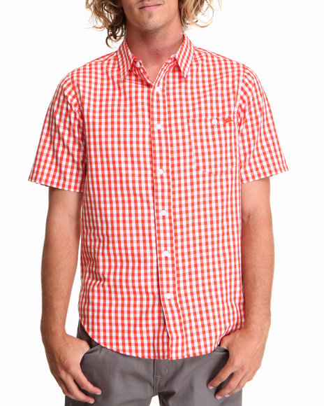 A Tiziano Orange Eaton S/S Button-Down