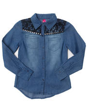 Tops - DENIM SHIRT W/ LACE YOKE (7-16)