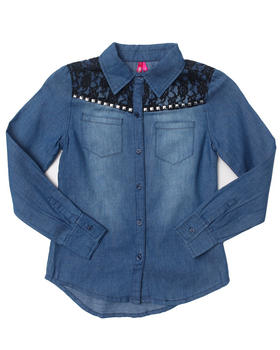 La Galleria - DENIM SHIRT W/ LACE YOKE (7-16)