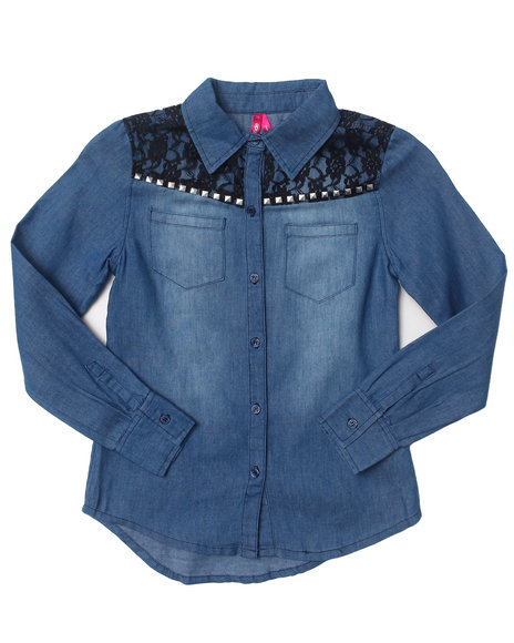 La Galleria Girls Light Wash Denim Shirt W/ Lace Yoke (7-16)