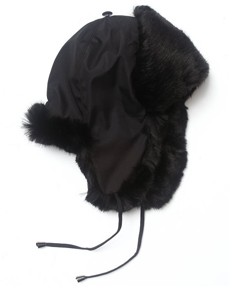 Drj Accessories Shoppe Women Faux Fur And Nylon Trooper Hat Black - $26.99