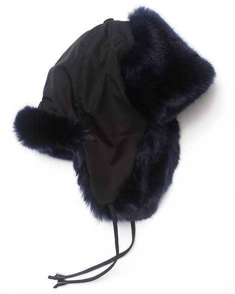 Drj Accessories Shoppe Men Faux Fur And Nylon Trooper Hat Navy