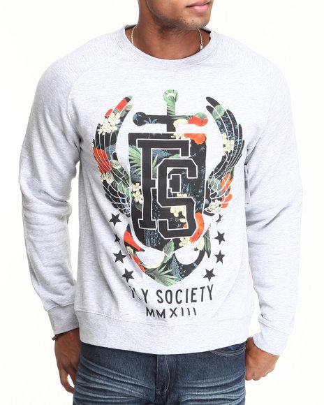 Flysociety - Men Grey All Hands Crew Sweatshirt