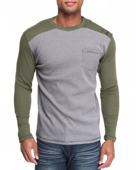 MO7 Olive Waffle Knit L/S Crewneck Shirt