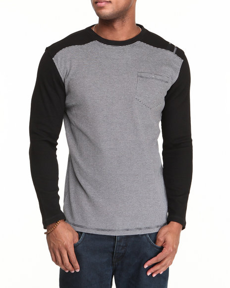 Mo7 - Men Black Waffle Knit L/S Crewneck Shirt