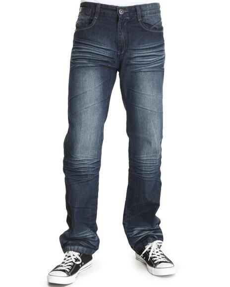 Mo7 - Men Dark Indigo Pu Trim Fashion Denim Jeans