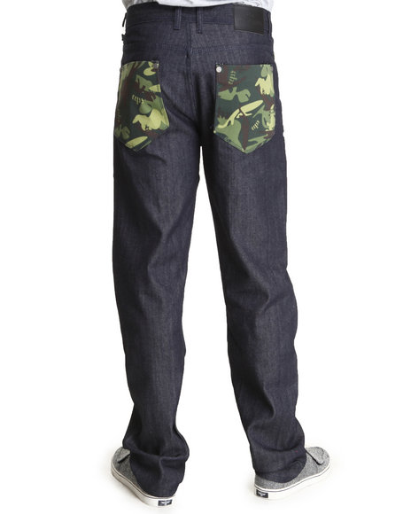 Blac Label Men Raw Wash B L P Camo Back - Pocket Denim Jeans