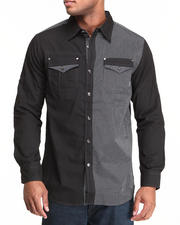 MO7 - Mixed Media Roll-Up Sleeve Button Down Shirt