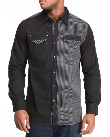 MO7 Black Mixed Media Roll-Up Sleeve Button Down Shirt