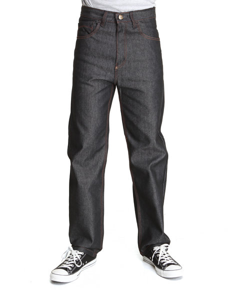 MO7 Black Raw Wash Contrast Stitch Straight Fit Denim Jeans