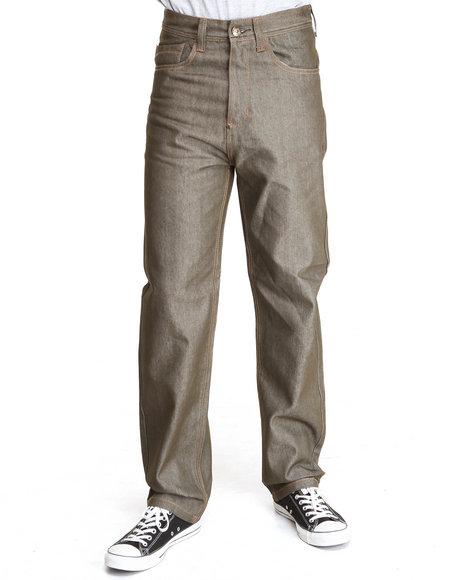 MO7 Olive Raw Wash Contrast Stitch Straight Fit Denim Jeans