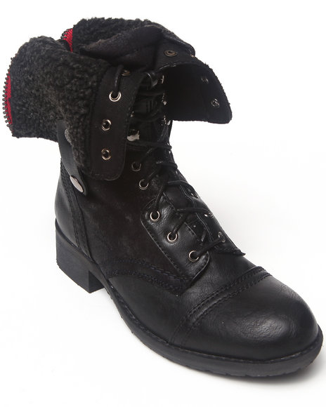 Rebels Black Anda Fold Down Combat Boot With Sherpa