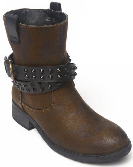 Rebels - Women Brown Travis Ankle Bootie With Stud Detail Straps