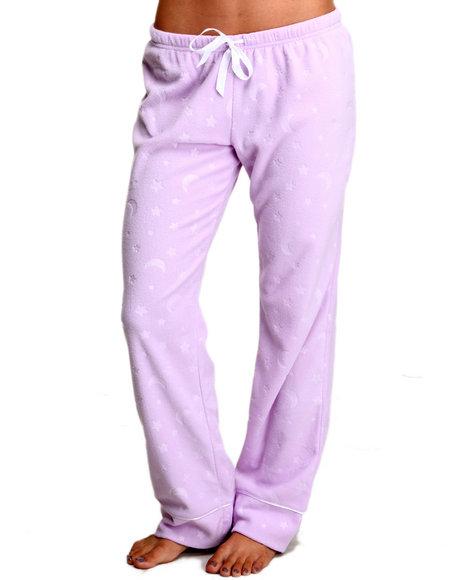 Basic Essentials Women Fleece Lounge Bottoms Purple Medium