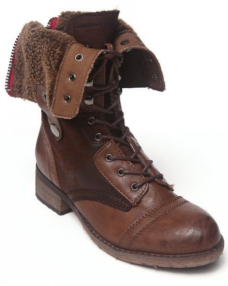 Rebels - Women Brown Anda Fold Down Combat Boot With Sherpa