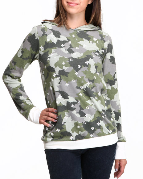 Lrg - Women Olive Stick It Hooded Oversized Pullover