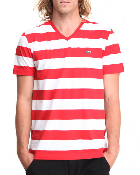 Lacoste - Men Red,White S/S Bar Stripe V-Neck Tee