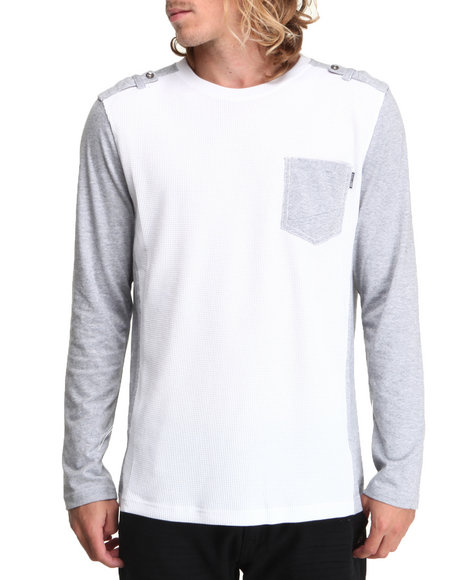 Mo7 - Men White Crewneck Mixed Fabric Thermal Shirt