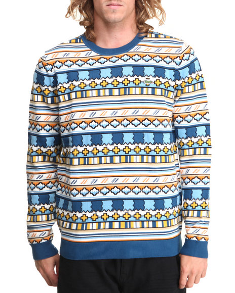 Lacoste - Men Multi L!Ve Geometric Jacquard Pattern Crewneck Sweater