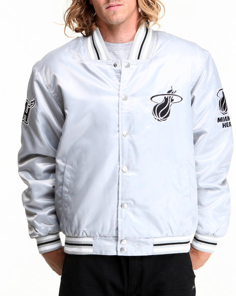 Nba, Mlb, Nfl Gear - Men Silver Miami Heat Silver Satin Team Jacket