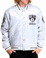 NBA, MLB, NFL Gear - Brooklyn Nets Silver Satin Team Jacket