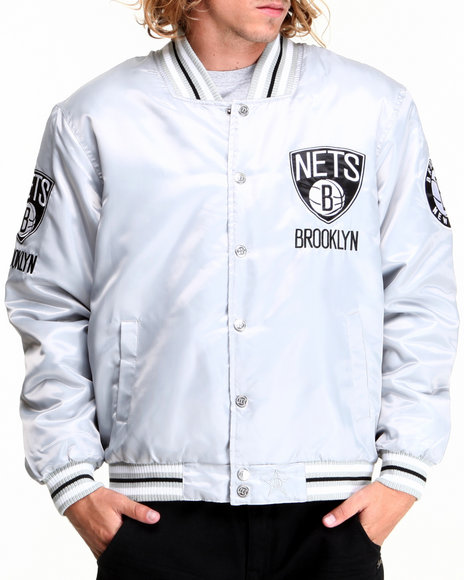 Nba, Mlb, Nfl Gear - Men Silver Brooklyn Nets Silver Satin Team Jacket