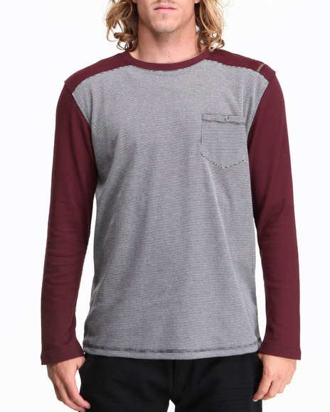 Mo7 - Men Maroon Waffle Knit L/S Crewneck Shirt