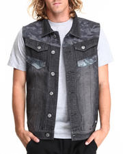 MO7 - Sandblasted Denim Vest w/ camo Trim detail