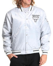NBA, MLB, NFL Gear - Chicago Bulls Silver Satin Team Jacket