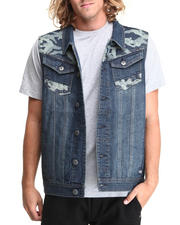 MO7 - Sandblasted Denim Vest with camo Trim detail