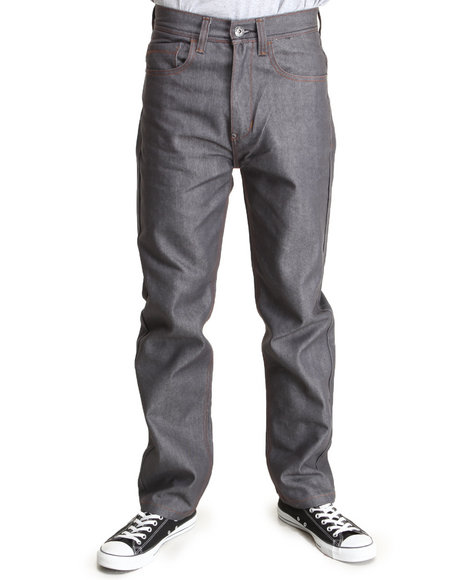 Mo7 - Men Grey Raw Wash Contrast Stitch Straight Fit Denim Jeans