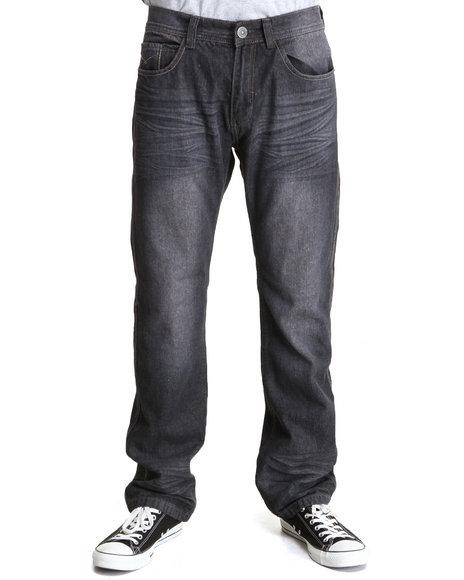 MO7 Black Pu Trim Back Pocket Denim Jeans