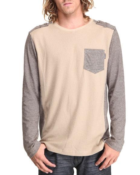MO7 Khaki Crewneck Mixed Fabric Thermal Shirt