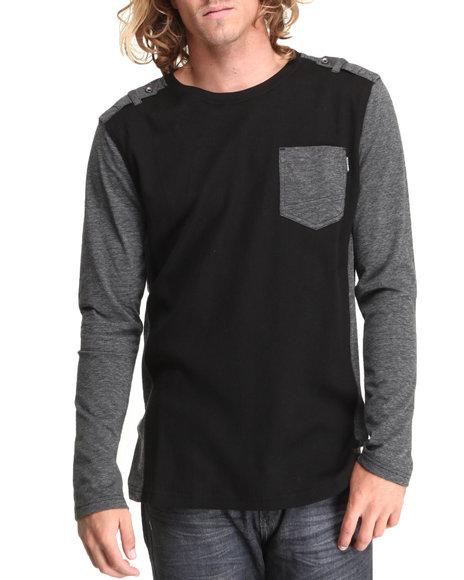 MO7 Black Crewneck Mixed Fabric Thermal Shirt