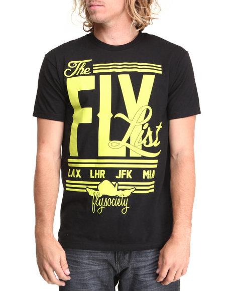 Flysociety - Men Black The Fly List T-Shirt - $12.99