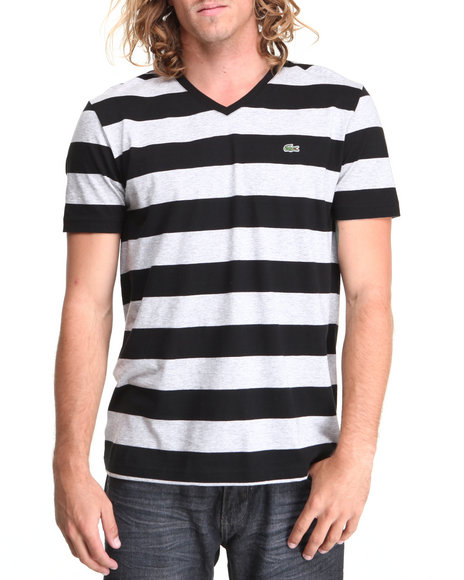 Lacoste Men SS Bar Stripe VNeck Tee Black 3XLarge