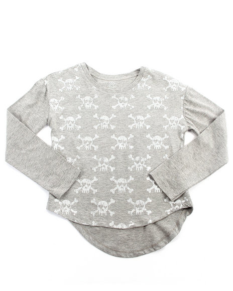 La Galleria Girls Grey High Low Skulls Top (7-16)