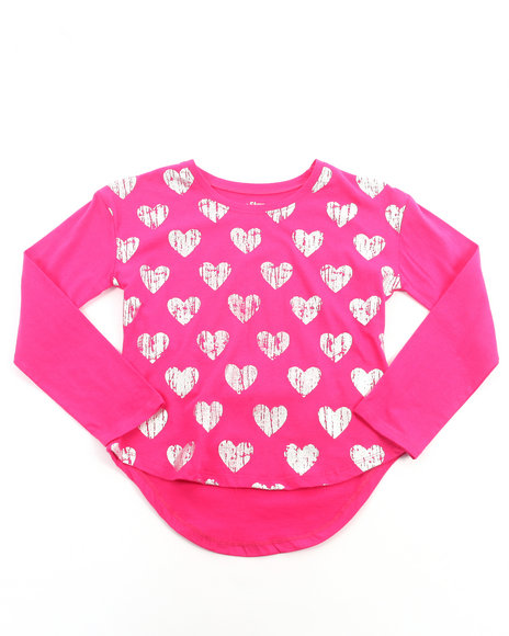 La Galleria Girls Pink High Low Hearts Top (7-16)