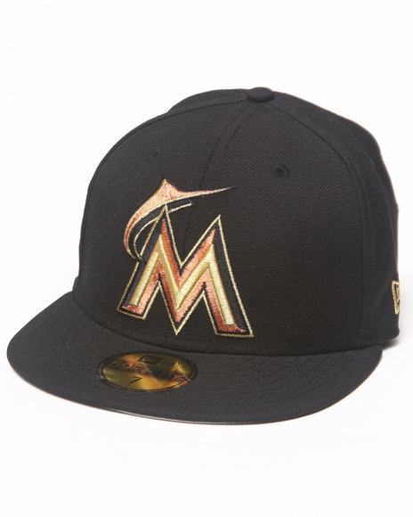 New Era - Men Black Miami Marlins 59Th Anniversary Side Patch 5950 Fitted Hat