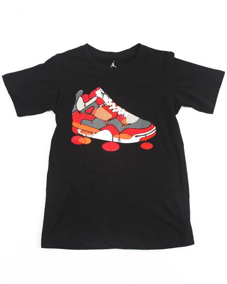 Air Jordan Boys Black Retro 4 Color Drip Tee (8-20)