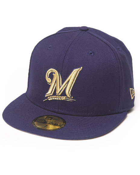 New Era - Men Navy Milwaukee Brewers 59Th Anniversary Side Patch 5950 Fitted Hat
