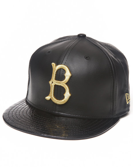 New Era - Men Black Brooklyn Dodgers 59Th Anniversary Of 5950 Fitted Hat (Geniune Leather/Faux Crocodile)