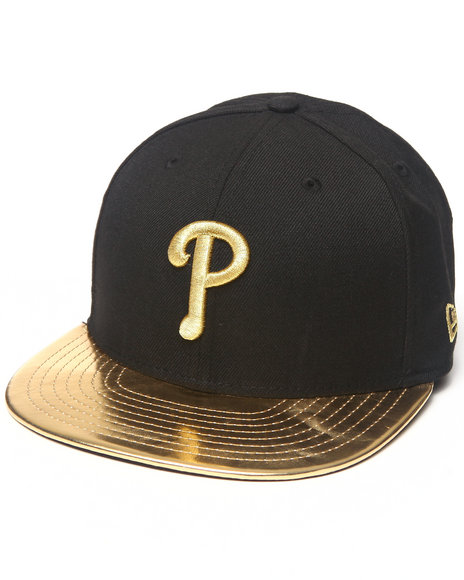 New Era - Men Black Philadelphia Phillies 59Th Anniversary Metallic Gold Edition 5950 Fitted Hat