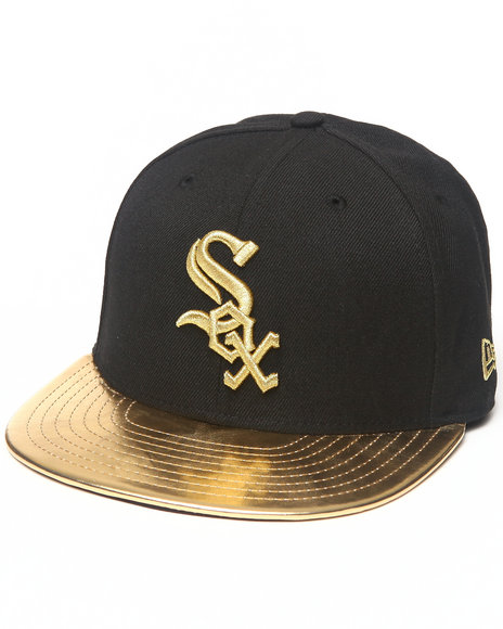 New Era Black Chicago White Sox 59Th Anniversary Metallic Gold Edition 5950 Fitted Hat