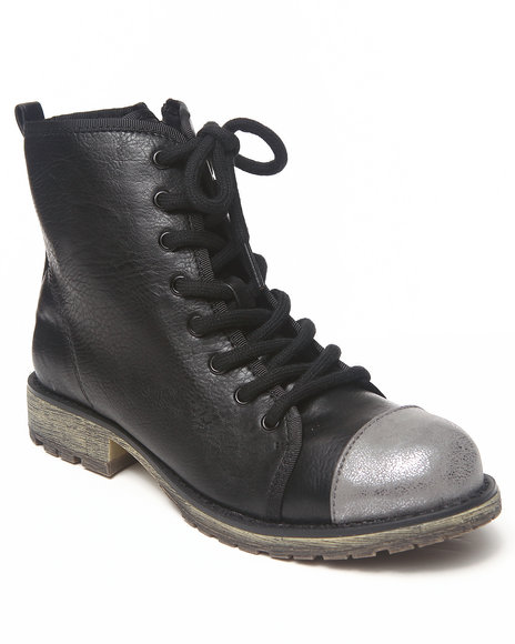 Dirty Laundry - Women Black Color Toe Cap Lace-Up Bootie