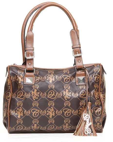 Coogi Women Grace Satchel Handbag WCoogi Script Print Brown 1SZ