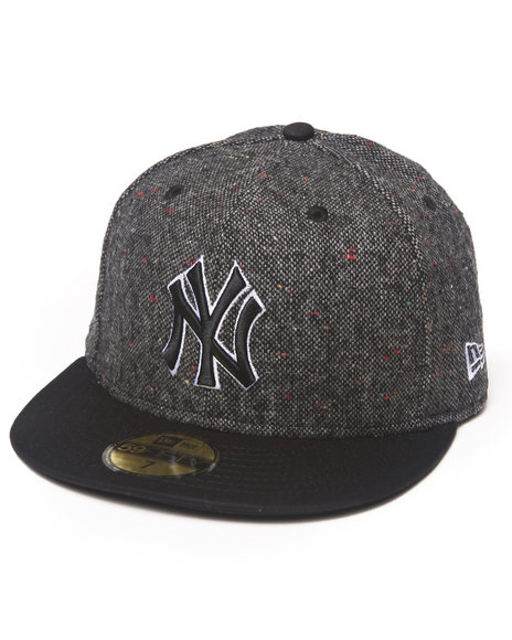New Era - Men Black New York Yankees Tweed Crest 5950 Fitted Hat