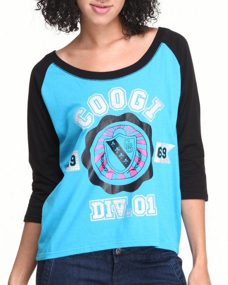 Coogi - Women Blue Crest Raglan Elbow Sleeve Tee