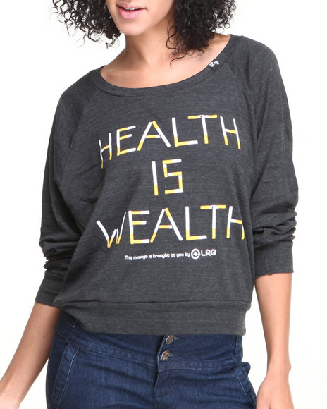 Lrg - Women Black Health Is Wealth Crew Neck Sweater